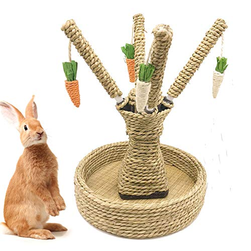 Hamiledyi Bunny Chew Toys Rabbit Rattan Grass Scratcher Climbing Tree Fun Tree Carrot Play Toys for Small Animal Guinea Pig Tooth Cleaning