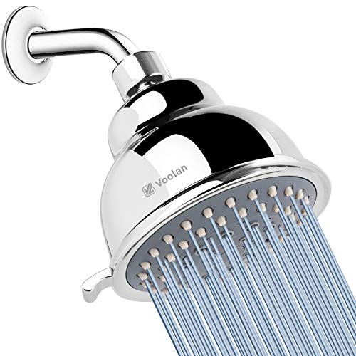 High Pressure Shower Head - Voolan 4 Inches Rain Showerhead - 5 Spray Settings - Luxury Modern Chrome Look - Perfect Adjustable Replacement for Bathroom Shower Heads