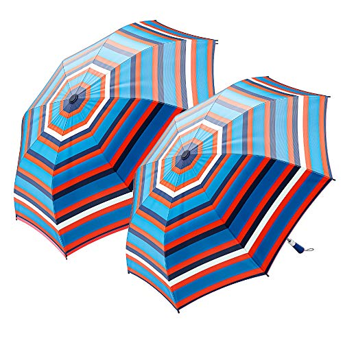 "2-Pack Nautica 2-Person Auto Open Umbrella - Sturdy Rainy Day Protection with Ergonomic Handle, 56"" of Coverage in Orange"
