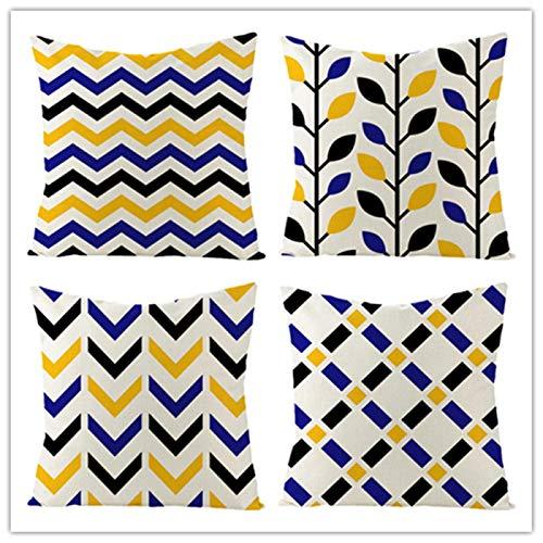 weilan1999 Juego De Fundas De Cojín De 4 Fundas De Cojín De Lino Nórdico Moderno Minimalista Geometría Azul Y Amarilla Sala De Estar Dormitorio Sofá Decoración 18 * 18 Pulgadas