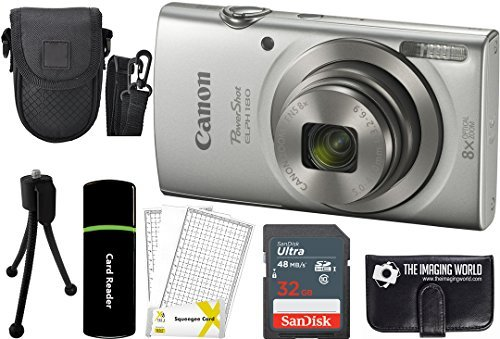 Canon PowerShot ELPH 180 20MP 8X Zoom Digital Camera (Silver) + 32GB Card + Reader + Case +...