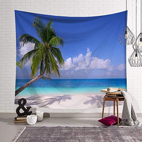 LZHLMCL Tapiz De Impresión A Una Cara Fondo De Tela Junto Al Mar Playa Paisaje Olas Árbol De Coco Tapiz Sala De Estar Fondo Dormitorio Arte Pared Manta 95X73 Cm