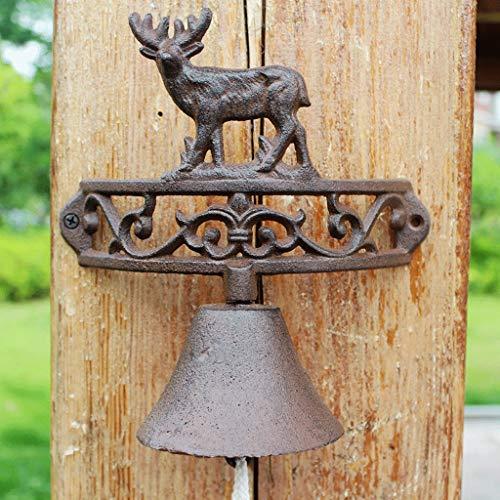 CJH Retro Nostalgische Smeedijzer Elk Deurbel Europees Amerikaans Land Landelijke Gietijzeren Bell Handleiding Tuin Voordeur Bell