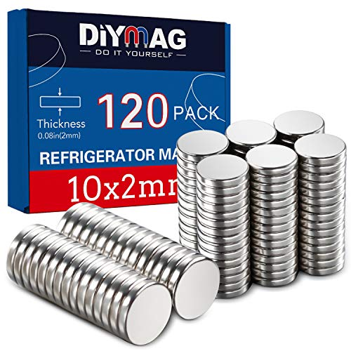 DIYMAG 120Pcs Refrigerator Magnets 10x2mm Premium Brushed Nickel Small Round Cylinder Fridge Magnet, Perfect to use as Office Magnets, Dry Erase Board Magnetic pins, Whiteboard, Map Pins