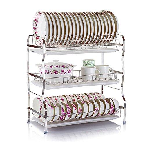 WLH- Roestvast stalen drie-laags Bowl Rekken Keuken Shelf Supplies Storage kom en eetstokjes Plat (53.5x28x54.5cm)