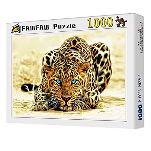 FAWFAW 1000 Piece Wooden Jigsaw Puzzles Africa Leopard Watching For Presa Rompecabezas Juguetes Regalos para Niños