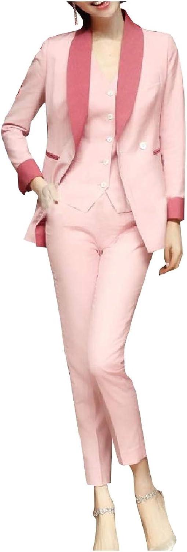 ROHEP Women Work Office Formal Classy 3Pcs Waistcoat+Blazer+Pant Outfit