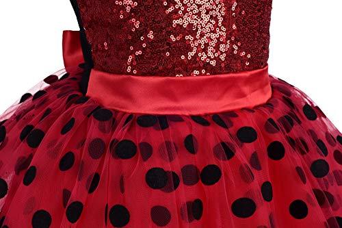 Lito Angels Vestido de Ladybug para Niña Disfraz de Mariquita de Halloween Fiesta de Cumpleaños Carnaval Festival Falda Tutu de Lunares Rojos Talla 5 a 6 Años