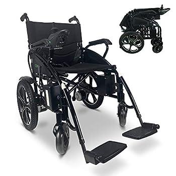 2021 Model Fold & Travel Lightweight Electric Wheelchair Motor Motorized Wheelchairs Power Wheel Chair Aviation Travel Safe Heavy Duty  Black