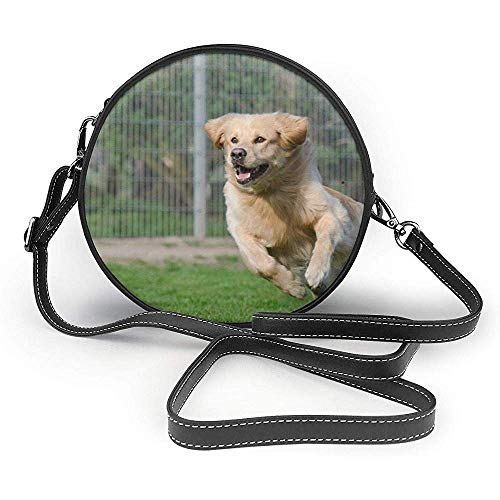 TURFED Bolso de hombro redondo de PU Cute Running Dog Retriever Abrigo...