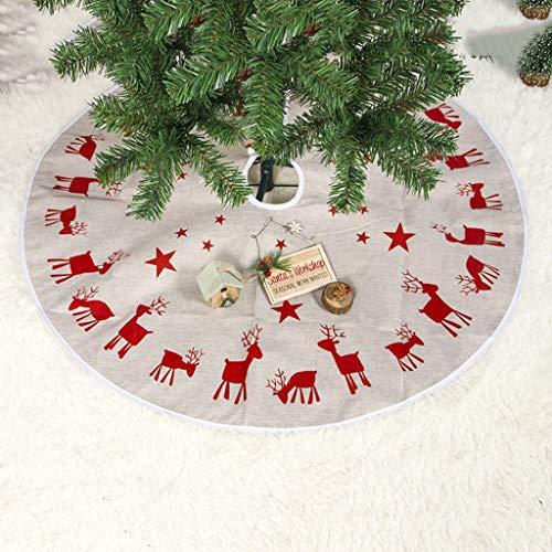 Sixcup Weihnachtsbaum Rock Weiß Baumrock Mit Elchmuster Print Baumdecke Rund Weihnachtsbaumdecke Christbaumständer Teppich Decke Weihnachtsbaum Deko,Christbaumdecke 100CM,Weihnachtsdeko (Weiß)