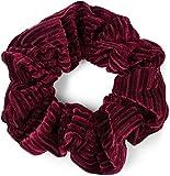styleBREAKER cinta elástica para el pelo XXL de mujer a rayas en óptica de terciopelo en estilo retro, Scrunchie, gomilla, cinta para el pelo 04027002, color:Burdeos-Rojo