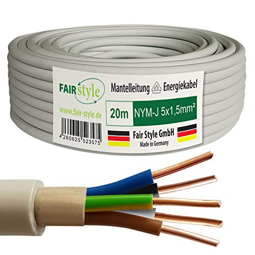 Fair Style 20m NYM-J 5x1,5 mm² Mantelleitung Feuchtraumkabel Elektrokabel Kupfer Made in Germany