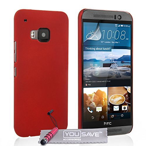 Yousave Accessories HTC One (M9) 2015 Fall Hard Hybrid Cover mit Mini Stylus Pen, Rot