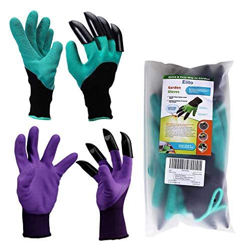 Eiito Garten Handschuhe (4 Klauen 2 Paar), Grün mit Lila gartenhandschuhe pflanz-und Gartenarbeit Handschuhe, Garten Gloves