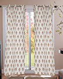 Jewear Fabric Floral Grommet Curtain, 7 Feet, Gold & Mustard Yellow, Pack of 2