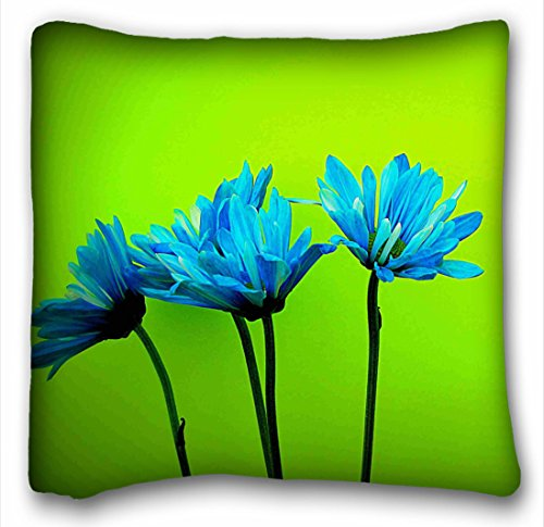 Tarolo Decorative Teal Turquoise Daisies Flowers Lime Green Throw Pillow Case Cases Cover Cushion Covers Sofa Size 16x16 Inches One Side