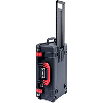 Black Pelican 1535 Air case with Red Handle & latches. No Foam - Empty.
