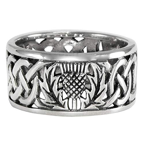 Sterling Silver Wide Scottish Thistle with Celtic Knot Mens Ring Size 10