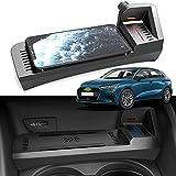 Placa de Carga de Cargador inalámbrico, Almohadilla de Carga rápida Qi de 15 W para Coche con Placa de Carga USB QC3.0 para Audi A3 S3 2014-2020 Panel de Accesorios de Consola Central