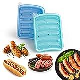 Paquete de 2 moldes de silicona para salchichas de 6 cavidades, Material antiadherente, Molde para hornear perros calientes para niños DIY sin BPA, para horno y microondas