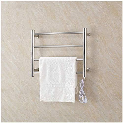 Acero inoxidable eléctrico de la toalla seca estante, un termostato calentado con un carril disipador de calor 4, toalla moderno de la pared de radiadores de calefacción,Silver