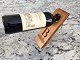 Personalized by Name Single Wine Bottle Holder Balancer - A Different Wedding-Gift (Browning Design)