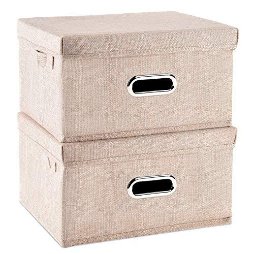 Caja de almacenamiento plegable con tapa [2 unidades] de tela de lino, cestas de almacenamiento plegables con tapas, contenedores de almacenamiento para el dormitorio o el armario (beige, pequeño)