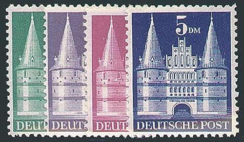 Goldhahn Alliierte Besetzung Nr. 97II-100II wg Bauten 1948 - hohe Treppe postfrisch- Briefmarken für Sammler