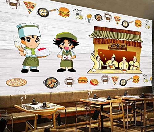 wallmuralthree Wandtbilder Wandaufkleber Bilder & Kunstwerke Wandaufkleber Tapete Wandbild Hintergrund Restaurant Burger-Shop Western Handgemaltes Fast-Food_208Cm (B) X146Cm (H)