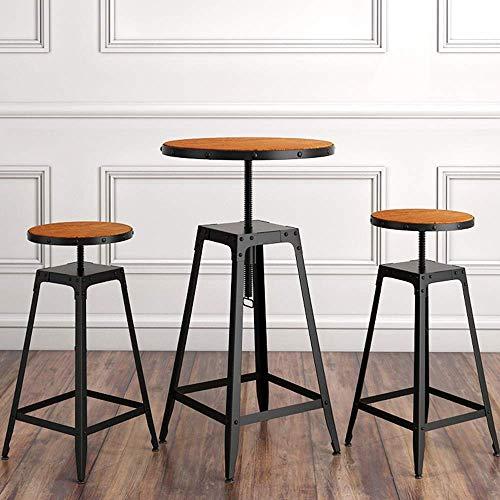 LKK-KK Barra de madera redonda Bistro mesa y la combinación de silla, mesa de balcón y mesa de café silla de tres piezas de hierro forjado muebles de la barra de elevación de madera maciza Silla retro