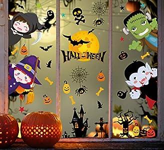 Tuopuda - Adhesivo decorativo para ventana de Halloween con diseño de calabaza y gato, calavera, color blanco