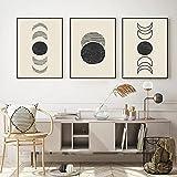 Fases de la luna Póster abstracto Formas orgánicas Arte de la pared Impresión en lienzo Pintura Imagen estética contemporánea Decoración de la sala de estar Sin marco-40x50cmx3