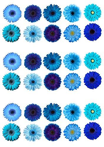 Gerbera-/Blumen-Kuchendekoration, essbar, Oblatenpapier, Blau, gemischte Designs, 30 Stück