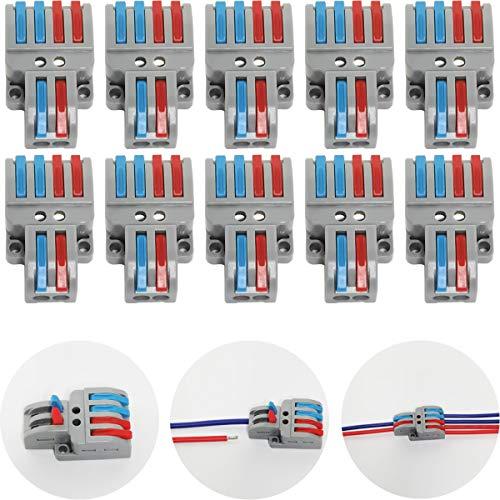 Bornes de Connexion, CTRICALVER 10 Pcs Connecteur électrique avec Levier de Fonctionnement, Compact Borne de Connexion électrique Automatique, 2 in 4 Out, avec vis de Montage
