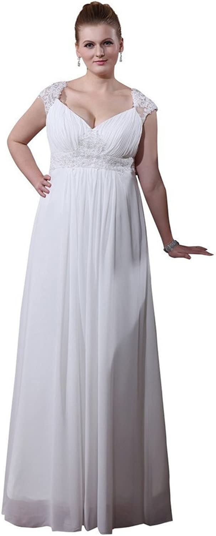 SecretCastle Sexy Cap Sleeves Applique Vneck Long Wedding Bridal Dresses