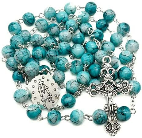 Nazareth Store Catholic Turquoise Marble Glass Beads Rosary Necklace Miraculous Medal Cross product image