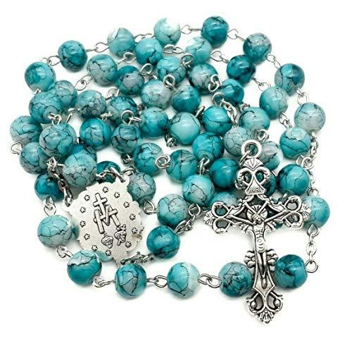 Nazareth Store Collar católico con cuentas de cristal de mármol turquesa rosario con medalla milagrosa y cruz - bolsa de terciopelo