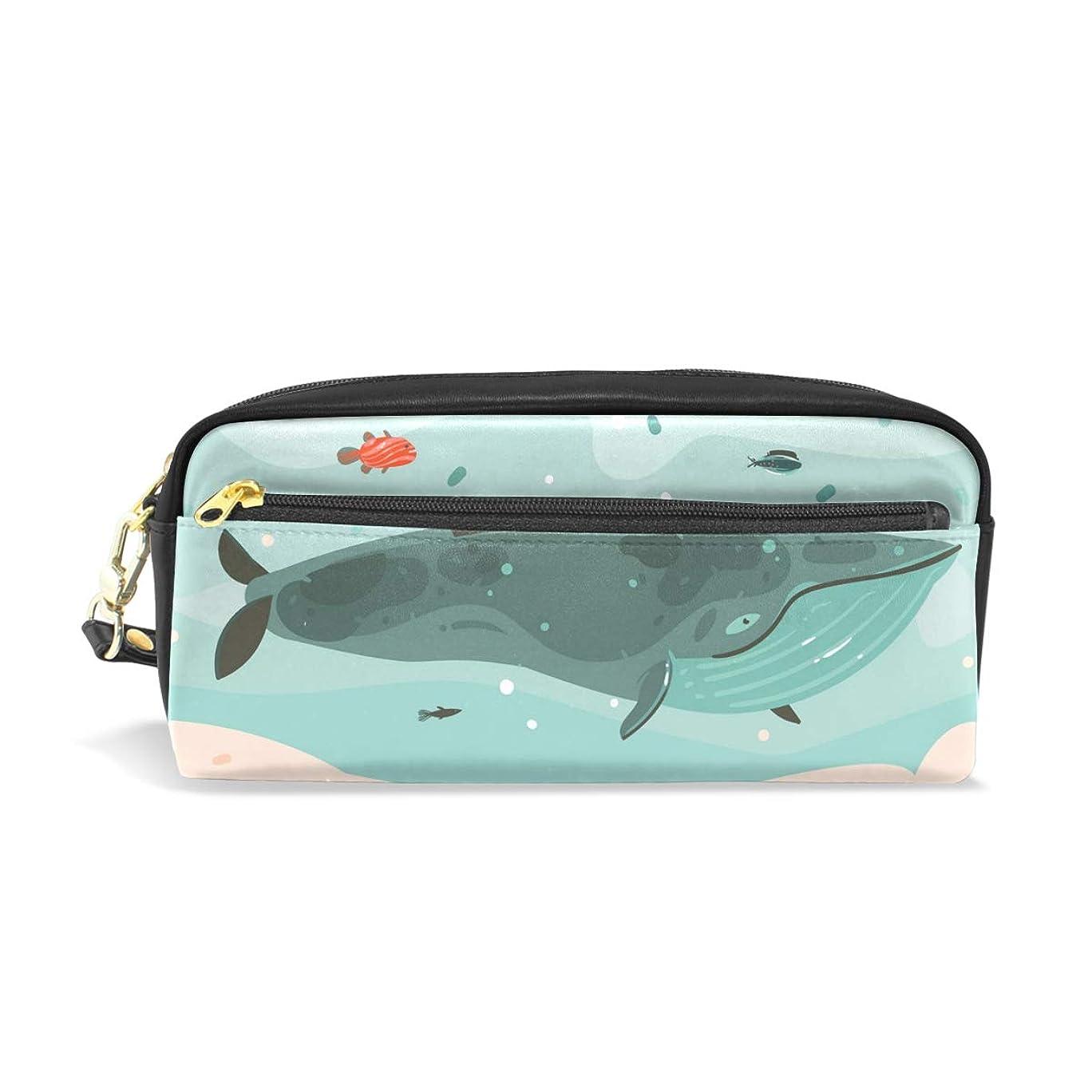 手錠ジャーナル分類するAOMOKI ペンケース 小物入り 多機能バッグ ペンポーチ 化粧ポーチ 男女兼用 ギフト プレゼント おしゃれ かわいい クジラ 魚 海
