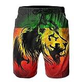 Pantalones de Playa de Surf de Verano para Hombre, con Bandera de león de Jamaica Pantalones de Secado rápido con Bolsillos, M