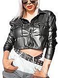 Chaqueta de cuero de la PU del estilo punk de las mujeres de manga larga solapa abrigo corto con bolsillo Trend Streetwear
