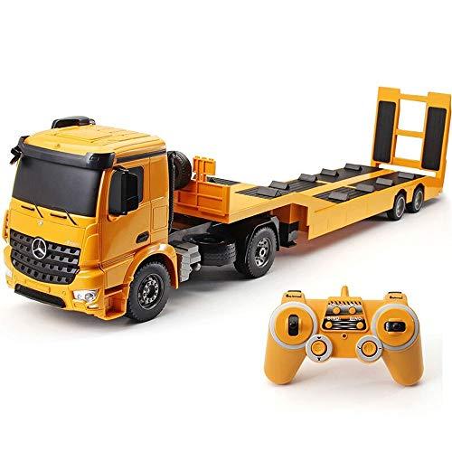 Kikioo 1:20 Escala 2.4 GHz Radio Remoto Diecast Camion de remolque Camion de auxilio Modelos de carretera Vehiculos de construccion Excavadora, grua, remolque para ninos Favores de la fiesta Decoracio