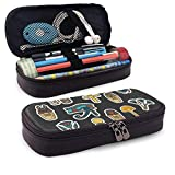 Yaxinduobao Cremallera de cuero con estuche para lápices Set of Ancient Egyptian Sacred Elements Leather Pencil Case with Zipper PU Leather Stationery College Office Pencil Holder