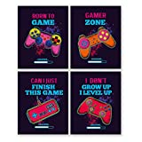 Watercolor Video Game Art Print-Colorful Gaming Inspiational Quote Canvas Wall Art (8'x10'x4pieces, Unframed)-Perfect for Kids Boy Bedroom Decoration