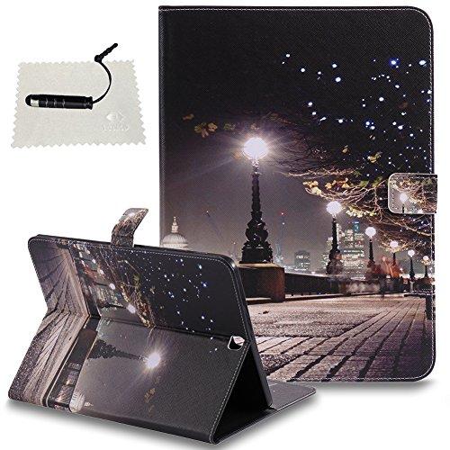 TOCASO Schutzhülle kompatibel für Samsung Galaxy Tab S2 9.7 (T815) Leder Wallet Hülle Brieftasche Handyhülle Klapphülle Rückseite Stand Karte Halter Magnet - KirinStadtlandschaft