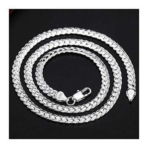 2 stuk 6mm volledige zijwaarts 925 sterling zilveren ketting armband mode-sieraden for vrouwen mannen link ketting sets bruiloft cadeau (Length : 60cm and 20cm)