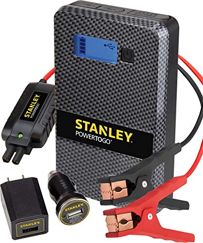 STANLEY SS4LS 600 Peak Battery Amps PowerToGo Lithium Ion Power Station Jump Starter and 8000mAh Portable Power Bank: Dual 3.1A USB Ports, Battery Clamps