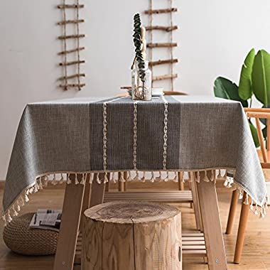ColorBird Stitching Tassel Tablecloth Heavy Weight Cotton Linen Fabric Dust-Proof Table Cover for Kitchen Dinning Tabletop Decoration (Rectangle/Oblong, 55 x 86 Inch, Gray)