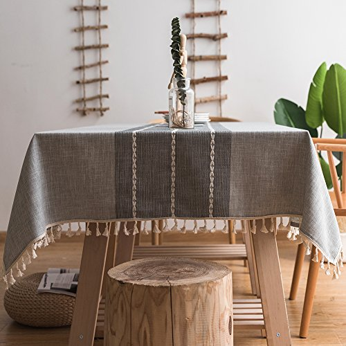 ColorBird Stitching Tassel Tablecloth Heavy Weight Cotton Linen Fabric Dust-Proof Table Cover for Kitchen Dinning Farmhouse Tabletop Decoration (Square, 55 x 55 Inch, Gray)