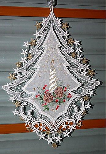 Plauener Spitze Fensterbild 25x34 cm + Saugnapf Weihnachten Voile Stickerei Kerze